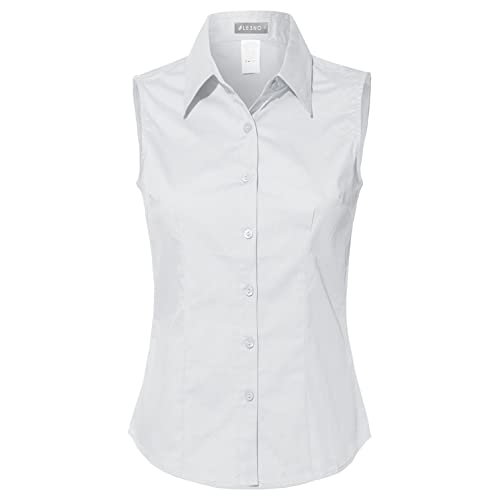 516930a6809a34 LE3NO Womens Lightweight Cotton Sleeveless Button Down Shirt