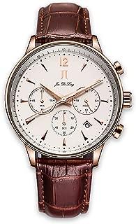Mens Wrist Watch Brown Leather Analog Quartz Watch Fashion Casual Chronograph Waterproof Sport Watches