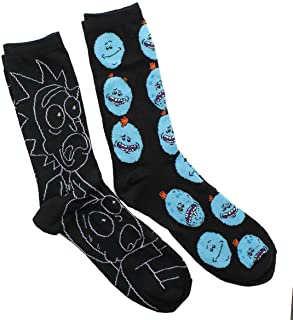 Rick And Morty 2 Pack Casual Crew Socks (Adult, Rm3), shoe 6-12