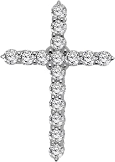 1.14 Carat (Ctw) 10K White Gold Round Cut Diamond Religious Cross Pendant