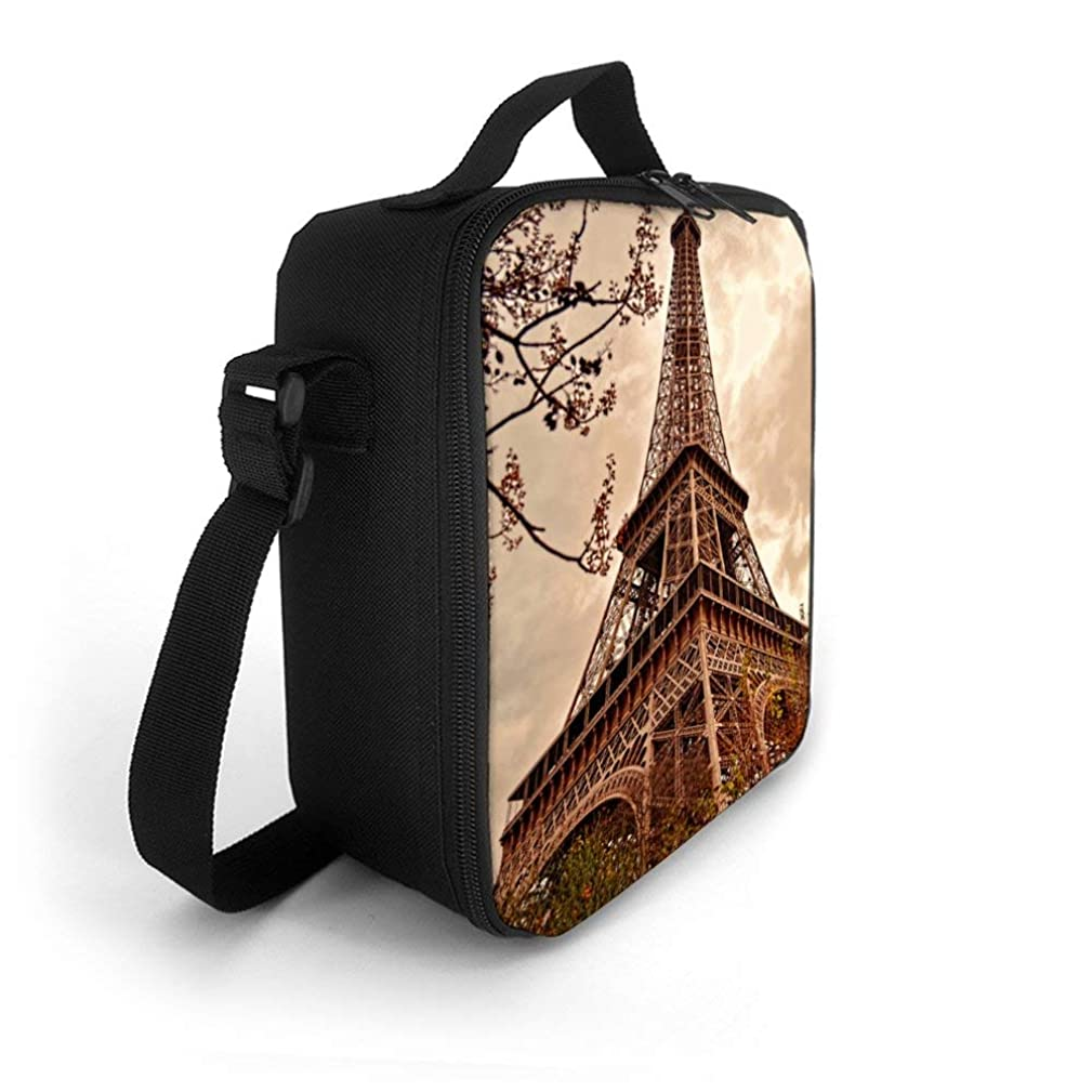 SARA NELL Kids Lunch Backpack Lunch Box Architecture Art City Effiel Tower Lunch Bag Large Lunch Boxes Cooler Meal Prep Lunch Tote With Shoulder Strap For Boys Girls Teens Women Adults