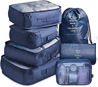 NANAO Packing Cubes 7 Pcs Travel Luggage Packing Organizers Set with Toiletry Bag (Navy)