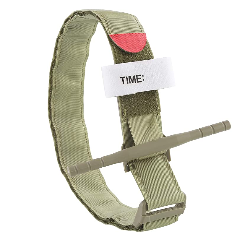 Dealpeak Combat Emergency Military Medical Tourniquets Tactical Arterial Tourniquet Belt Windlass for Outdoor First Aid Pre-Hospital Life Saving (Army Green)