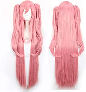 Long Straight Pink Wig with Pigtails Anime Cosplay Wigs Bangs for Women Girls