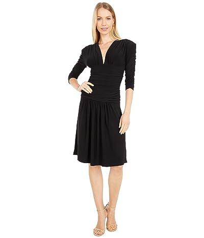 KAMALIKULTURE by Norma Kamali Shirred Sleeve V-Neck Shirred Waist Dress w/ Shoulder Pad