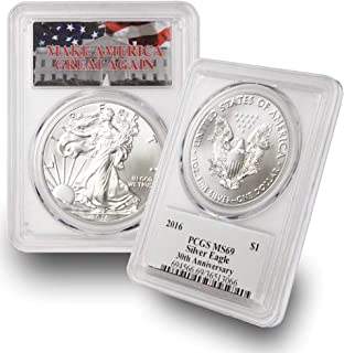 2016 1 oz American Silver Eagle $1 MS69 PCGS Make America Great Again (MAGA) .999 Fine Silver US Mint