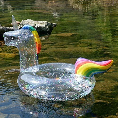 Vercico Flotador de Piscina Inflable de Unicornio con Brillo, 90 cm Sparly Unicorn Swimming Ring Floaties de Piscina Juguetes para niños y Adultos Fiesta de Piscina Suministros de Playa de Verano