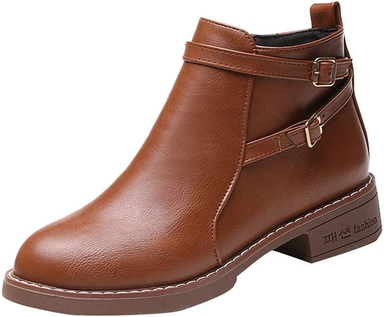 So8ooa Lady Boots Women Fashion Solid Leather Medium High Closure Thick Martin Boots Round Toe Brown shoes Black Cosy Wild Casual Quality Super Elegant Leisure for Womens