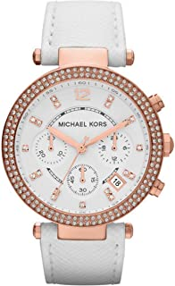 Michael Kors Parker Women's White Dial Leather Band Watch - MK2281