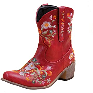 Women Vintage Flower Embroidered Cowgirl Cowboy Boots...