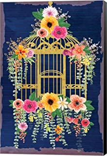 Bird Cage by ND Art & Design Canvas Art Wall Picture, Museum Wrapped with Black Sides, 8 x 12 inches