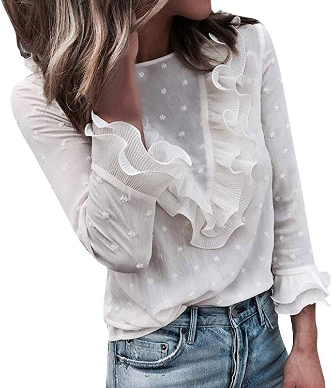 LanWi Women Ladies Casual Lace Polka Dot O Neck T Shirt Long Sleeve Tops Blouse Autumn Bottoming Shirt