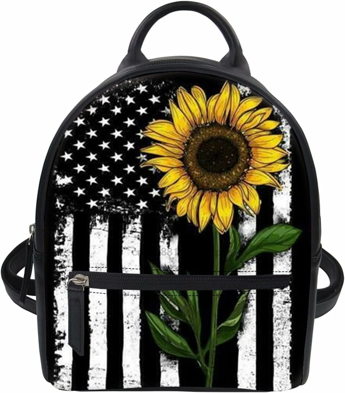 Forchrinse Black sold out White American Flag Sunflower Small Ranking TOP15 Backpack Mi