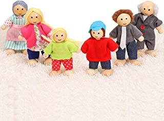 Doll Family of 6, Wooden Doll House Family, Doll Family Set with Mom, Dad, Grandparents, Children, Baby, Pretend Play Toys for Kid's Wooden Dolls House for Ages 3 and Up