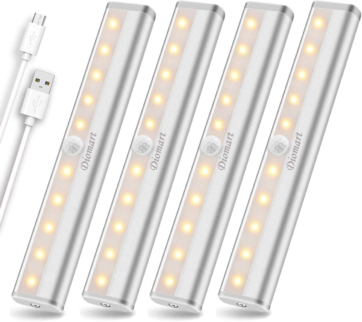 Under Cabinet Lighting Wireless, 10 LED Rechargeable Motion Sensor Closet Lights, Stick On Lights, Under Counter Kitchen Lights LED Motion Night Light for Stairs Hallway Wardrobe, Warm White, 4 Pack