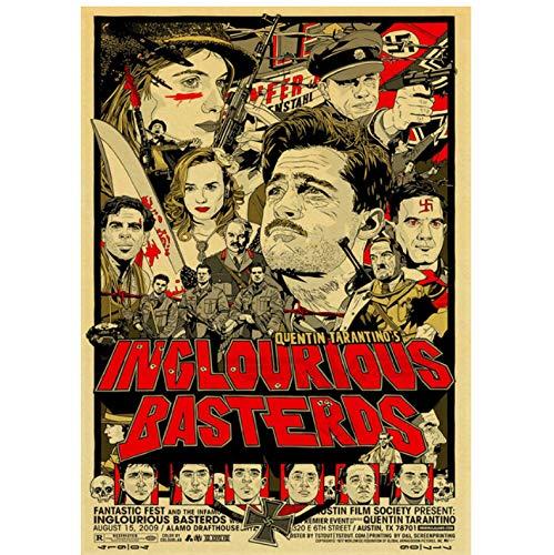 Quentin Tarantino Movie Poster retrò Pulp Fiction/Reservoir Dog/Bastardi Senza Gloria Poster Kraft Paper Wall Home 50 × 70Cm Senza Cornice