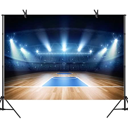 RBQOKJ 10x10ft Basketball Court Backdrop Stadium Lights Backgrounds Wood Floor Photography Background for Basketball Sports Theme Party Decor Shoot Backdrops Prop