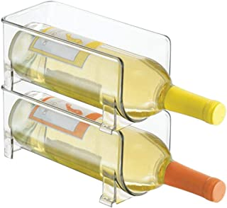mDesign Bottle Rack - Set of 2 Bottles - Crystal Clear Storage for Wine Bottles - Modern Wine Cellar Extends Wine and Cork...