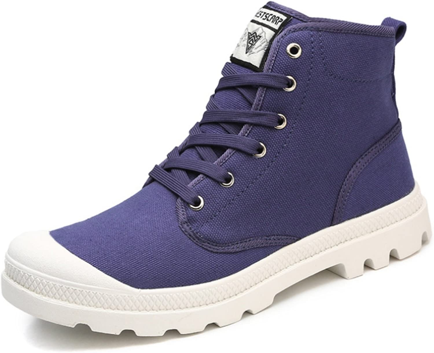 DADAWEN Unisex Hi-Top Sneakers Lace-up Canvas Trainers