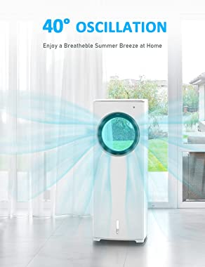 BREEZEWELL 2-in-1 Evaporative Air Cooler, Cooling Fan, Swamp Cooler w/ 3 Wind Speeds, 4 Modes w/Cooling&Humidification, 2