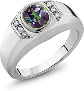 Gem Stone King 1.36 Ct Green Mystic Topaz White Created Sapphire 925 Sterling Silver Men's Ring
