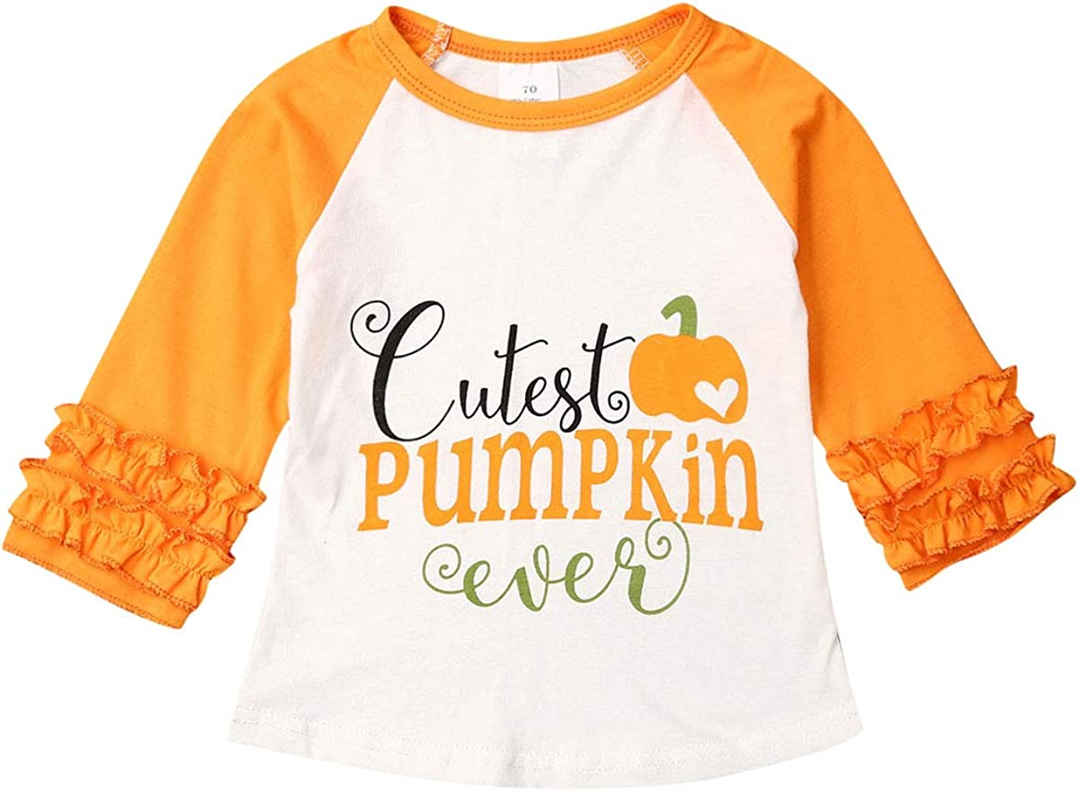 Toddler Baby Girls Christmas Long Sleeve T-Shirt Pumpkin Print Ruffle Tops