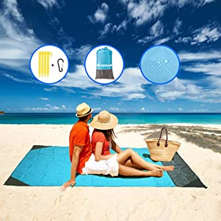 GIVERARE Sandfree Beach Blanket, Large Waterproof Picnic Blanket, Quick Drying Indoor&Outdoor Family Mat with 4 Stakes&4 C...