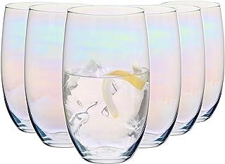Krosno Getränke Glas Schimmer Wassergläser Gläser mit Regenbogeneffekt | Set von 6 | 510 ML | Blended Kollektion | Perfekt für zu Hause, Restaurants und Partys
