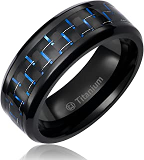 Cavalier Jewelers 8MM Mens Titanium Ring Wedding Band Black Plated with Black and Blue Carbon Fiber Inlay