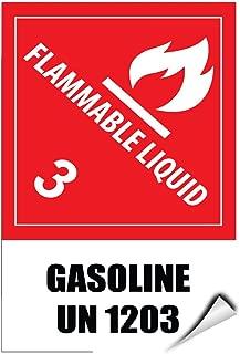 Flammable Liquid 3 Gasoline Un 1203 Hazard Sign Label Decal Sticker 5 inches x 7 inches