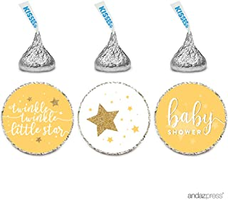 Andaz Press Chocolate Drop Labels Trio, Baby Shower, Twinkle Twinkle Little Star, Yellow