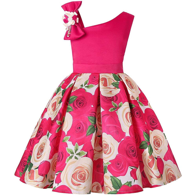 ガールズドレス 女の子ドレス ワンピース お宮参り 入園式 結婚式 卒業式 バラプリント 肩を出す 100 110 120 130 140 150cm