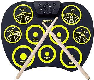 LVSSY-Enrolle Drum Pad Electrónico Portátil Kit Silicio Plegable Kit de Almohadilla de Batería de Silicona Roll-Up Silicon Drum Set con Baquetas Y Pedales