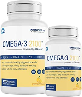 Oceanblue Omega 3 2100 – 120ct + 30ct Bonus Bottle – Triple Strength Burpless Omega 3 Fish Oil Supplement with High-Concentration EPA and DHA – Wild-Caught – Orange Flavor