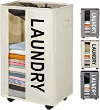 ZERO JET LAG 90L Extra Large Laundry Basket Hamper on Wheels Clear Window Tall Laundry Hamper Handles Collapsible Dirty Clothes Hamper Organizer Rolling Storage Bins Bathroom Bedroom (Beige)