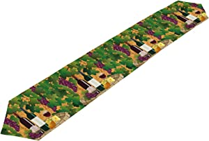 AHOMY Polyester Table Runners Grape Vine Wine Home Decor for Kitchen Dining Wedding Party 13 x 90 Inches