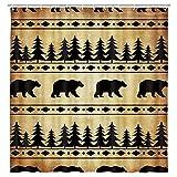 Black Bear Shower Curtain, Rustic Bear Shower Curtain for Bathroom,...