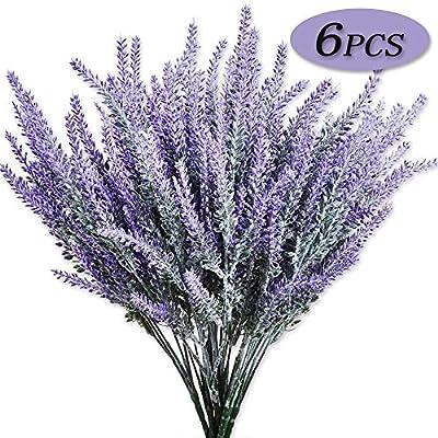 Moomass 6 Bunches of Artificial Flowers Artificial Lavender Flowers, Flocking Lavender Bouquets, Wedding Eternal Flowers, Purple Lavender Silk Flowers, Flower Plants Home Garden Decoration (Purple)