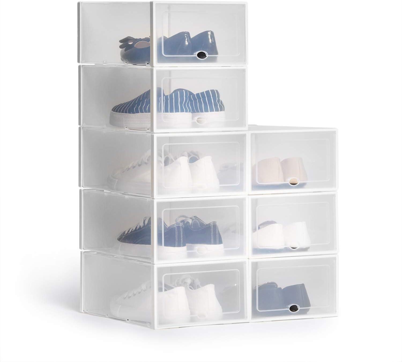 Hapilife 20pcs Shoe Box Stackable Shoe Storage Box Clear Plastic ...