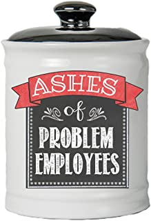 Cottage Creek Boss Gifts Ashes of Problem Employees Jar/Round Decorative Funny Piggy Bank Jar/Coin Bank with Lid Coworker Gifts [White]