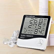 Xu Yuan Jia-Shop Termómetro Higrómetro Termómetro Digital Hygrómetro Electrónico LCD Temperatura Humedad Meter Estación meteorológica Inicio Indoor Reloj Exterior Digital Termohigrómetro
