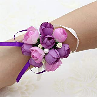 AXEDENRT Pack of 4 Wedding Bridal Women Hand Flowers Decor Wedding Bridal Wrist Accessories Prom Wrist Corsage Loop