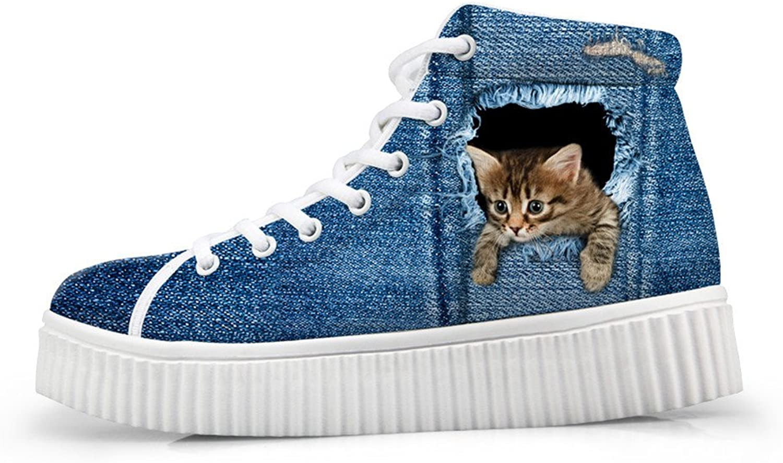 coloranimal Denim Style Women Platform Wedge shoes Cute 3D Cat Dog Printed High Top Sneakers