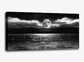 Canvas Art Black White Moon Sea Ocean Landscape Paintings Canvas Wall Art Print Paintings Modern Giclee Artwork for Wall D...