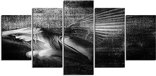 YOUMEISU Cuadro en Lienzo,5 Partes Pintura al óleo ángeles alas mujer wheatland wyoming hembra niña cuento de hadas de Arte de Pared Decoración del Hogar para el Cartel Modular