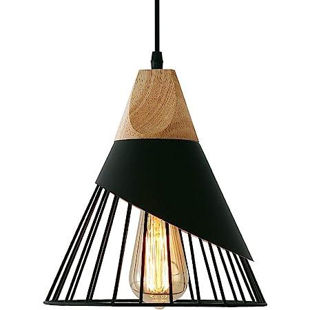 Suspension Luminaire Vintage,Bois Métal design Lampe Plafonnier Industrielle en Luminaires Suspension Abat-jour 27 Applique d'Eclairage pour salle à manger Cuisine,Noir