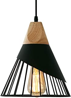 Suspension Luminaire Vintage,Bois Métal design Lampe Plafonnier Industrielle en Luminaires Suspension Abat-jour 27 Appliqu...