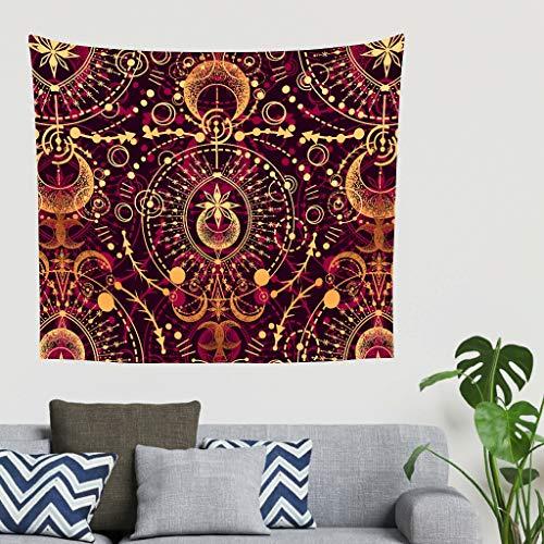 O5KFD & 8 Gold Mandala patroon wandbehang Mandala exclusief bedlakendeken - rood
