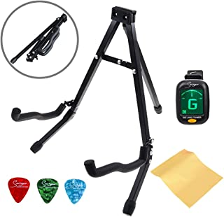 Extremely Foldable A Frame Guitar Stand for Acoustic Electric Guitar Stands Floor Easy to Carry Mini stand with Accesssories Tunner and Picks by Smiger