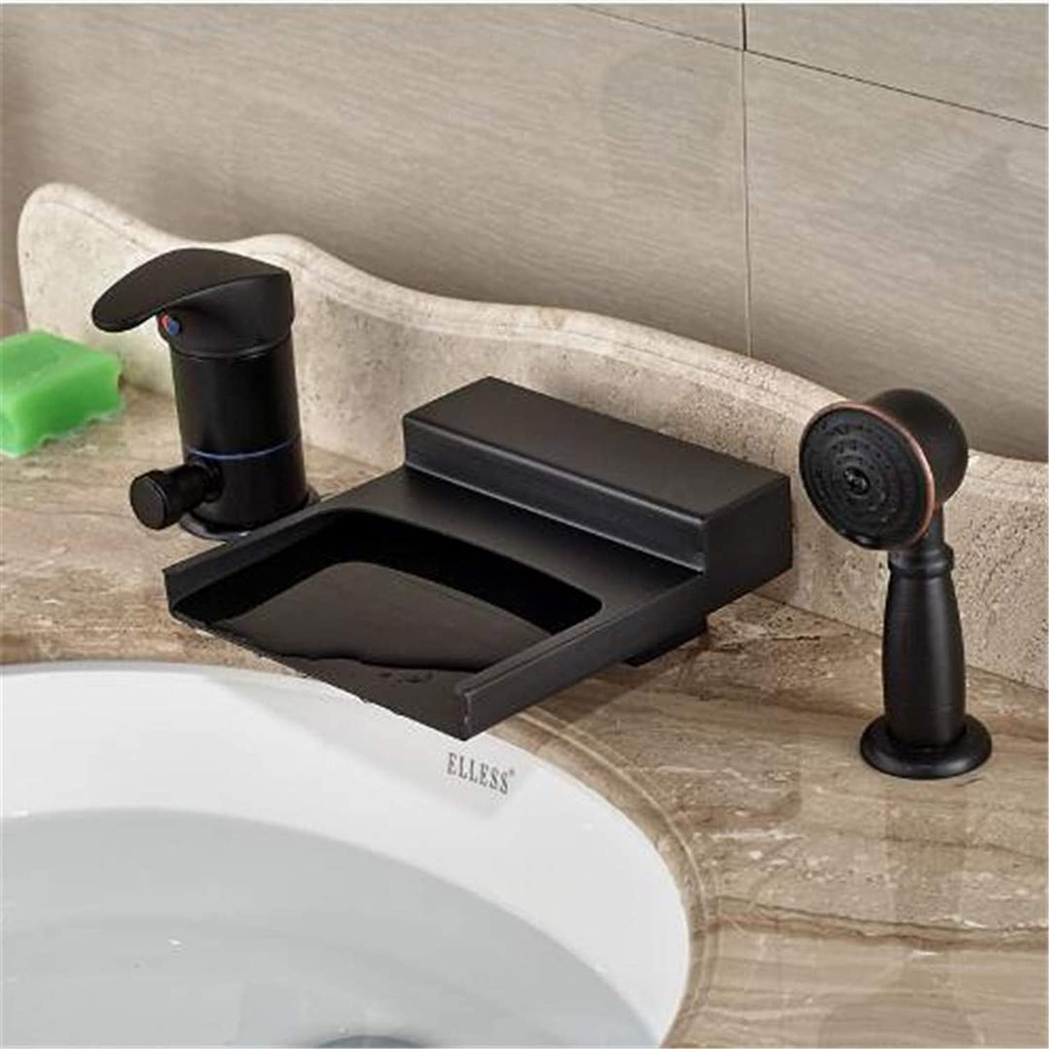 Oudan Faucet Basin Faucet Bathroom Faucet Kitchen Faucetluxury Oil Rubbed Bronze Single Handle Waterfall Bathtub Faucet Deck Mount Bath Shower Mixer Tap with (color   -, Size   -)